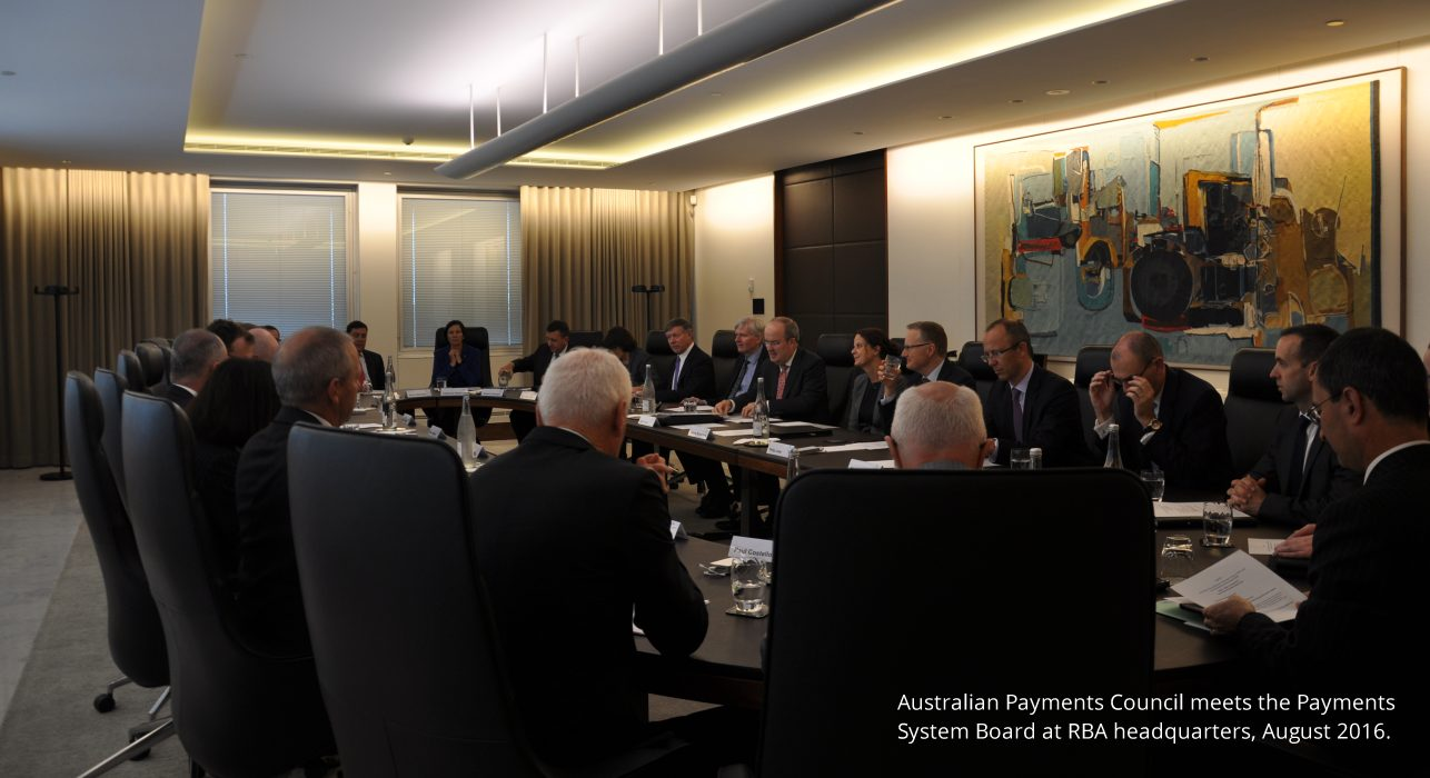 Australian Payments Council meets the Payments System Board at RBA headquarters, August 2016.